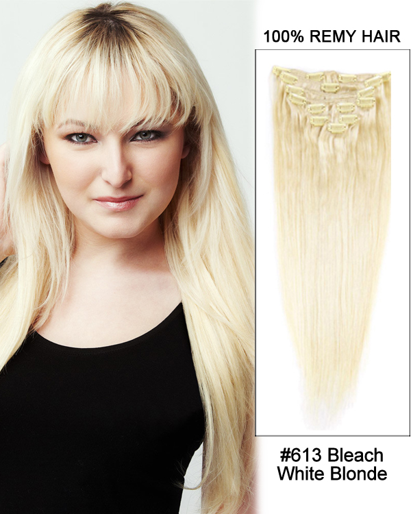 "18"" 9pcs #613 Bleach White Blonde Straight 100% Remy Hair Clip in Hair Extension"