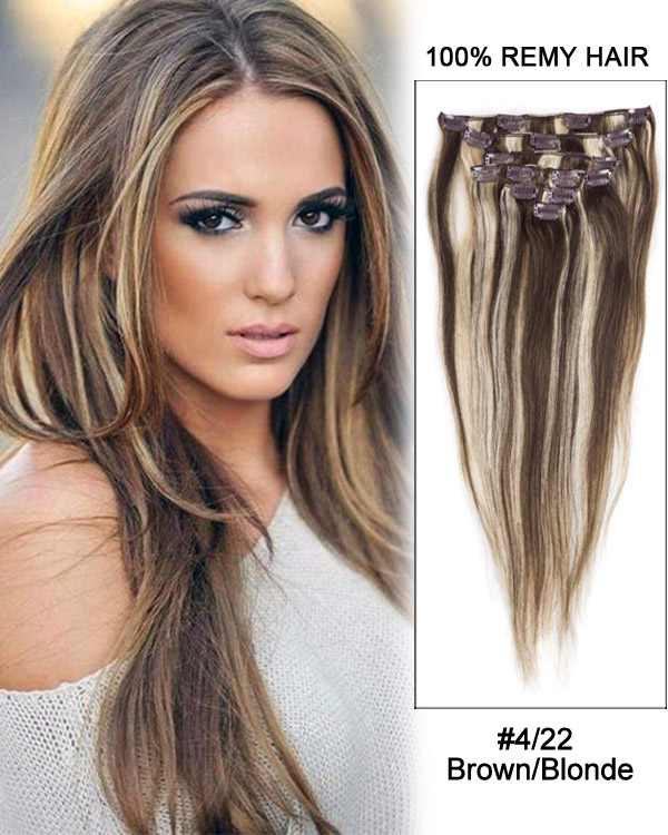 30 422 Brownblonde Straight 100 Remy Hair Clip In Hair
