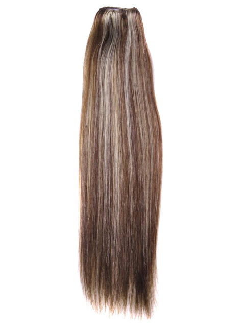 "30"" #4/22 Brown/Blonde Straight 100% Remy Hair Clip in Hair Extensions"