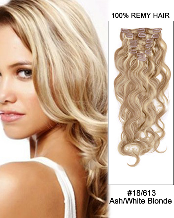 14 7pcs 18613 Ash White Blonde Body Wave 100 Remy Hair Clip In Human
