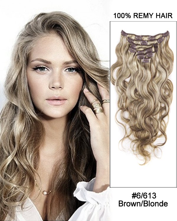 "18"" 9pcs #6/613 Brown/Blonde Body Wave 100% Remy Hair Clip in Hair Extension"