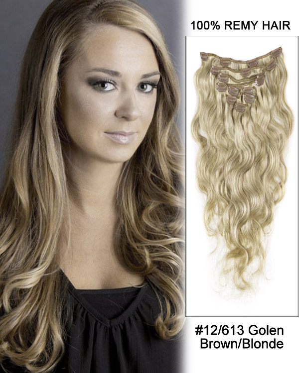 "22"" 9pcs #12/613 Brown/Blonde Body Wave Remy Human Hair Clip in Hair Extension"