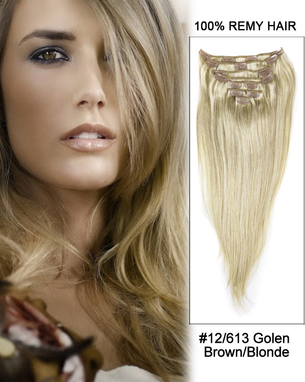 "18"" #12/613 Golden Brown/Blonde Straight 9 PCS Clip in Remy Human Hair Extensions"
