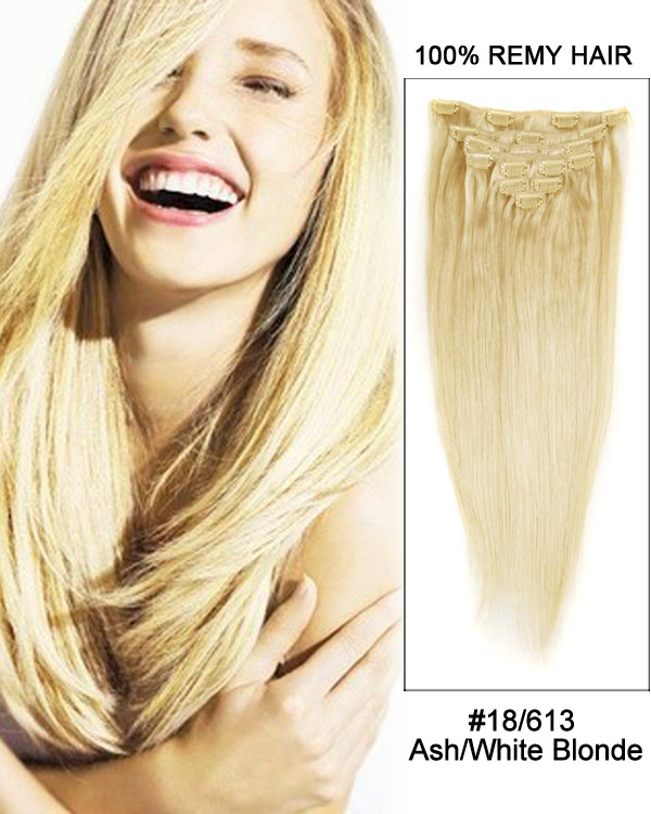 22 18613 Ashwhite Blonde 9pcs Straight Remy Human Hair Clip In