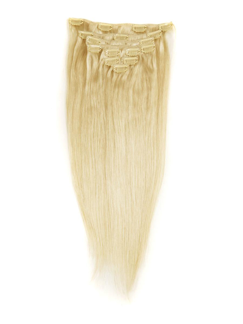 "22"" #18/613 Ash/White Blonde 9pcs Straight Remy Human Hair Clip in Hair Extension"