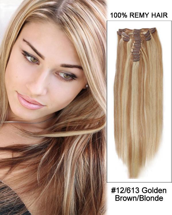 14 7pcs 12613 Brownblonde Straight 100 Remy Hair Clip In Human