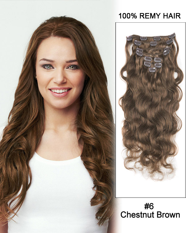 "24"" 9pcs #6 Chestnut Brown Body Wave Remy Hair Clip in Hair Extensions"