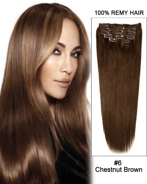 "16"" 11pcs #6 Chestnut Brown Straight Clip in Remy Human Hair Extensions"
