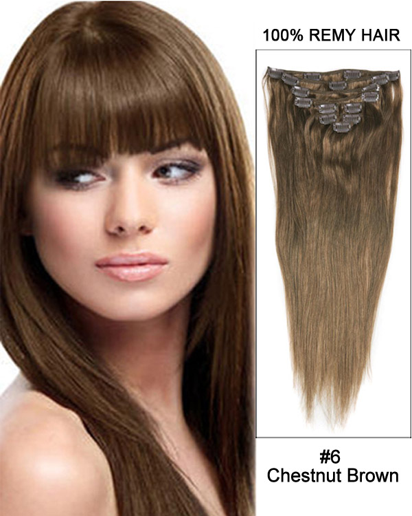 "30"" #6 Chestnut Brown Straight 100% Remy Hair Clip in Hair Extensions"