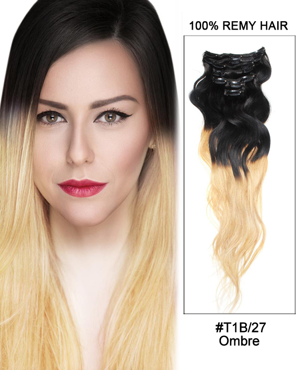 "18"" 7pcs Clip In Human Hair Extensions #T1B/27 Black Blonde Ombre Body Wave Hair 100% Remy Hair"