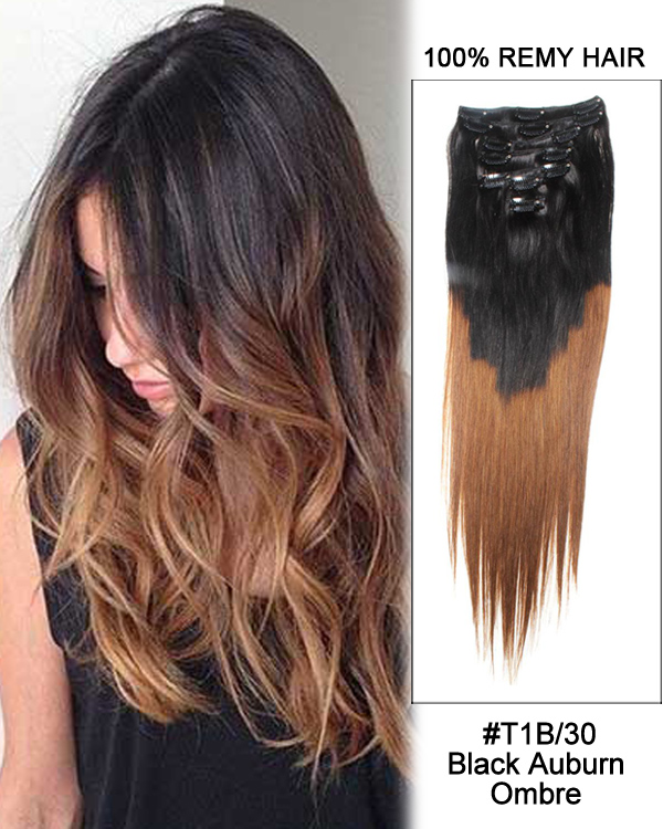 "18"" 7pcs Clip In Human Hair Extensions #T1B/30 Triple Ombre Straight Hair 100% Remy Hair"