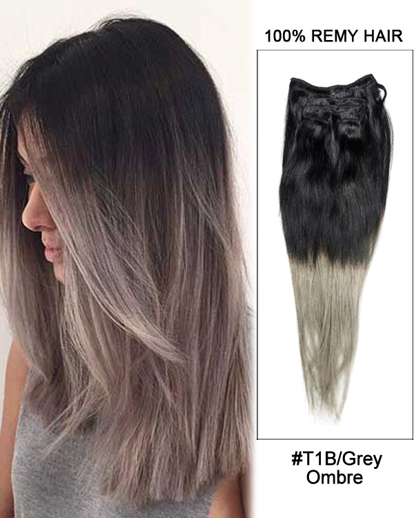 "18"" 7pcs Clip In Human Hair Extensions #T1B/Grey Ombre Straight Hair 100% Remy Hair"