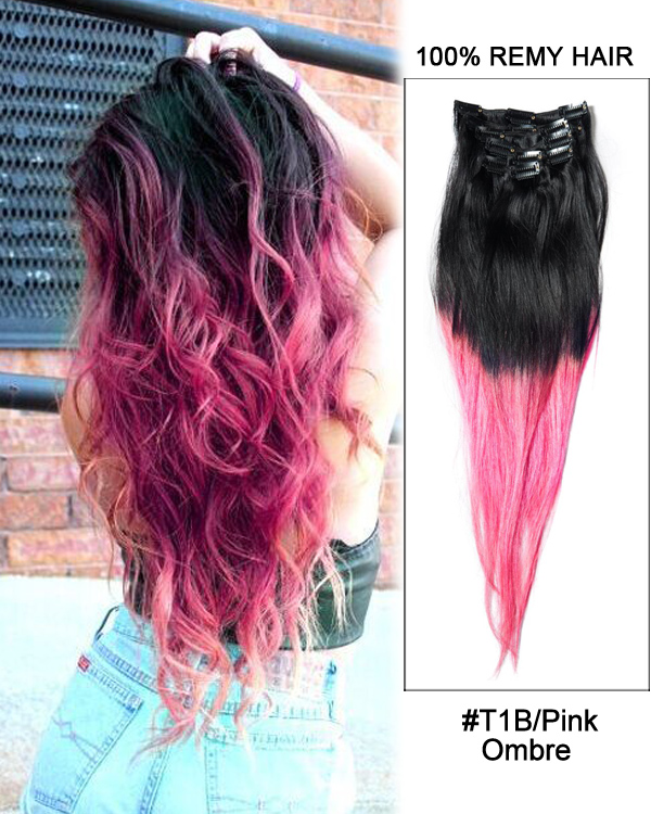 7pcs clip in human hair extensions t1bpink ombre straight hair 18 7pcs clip in human hair extensions t1bpink ombre straight hair 100 remy hair pmusecretfo Images