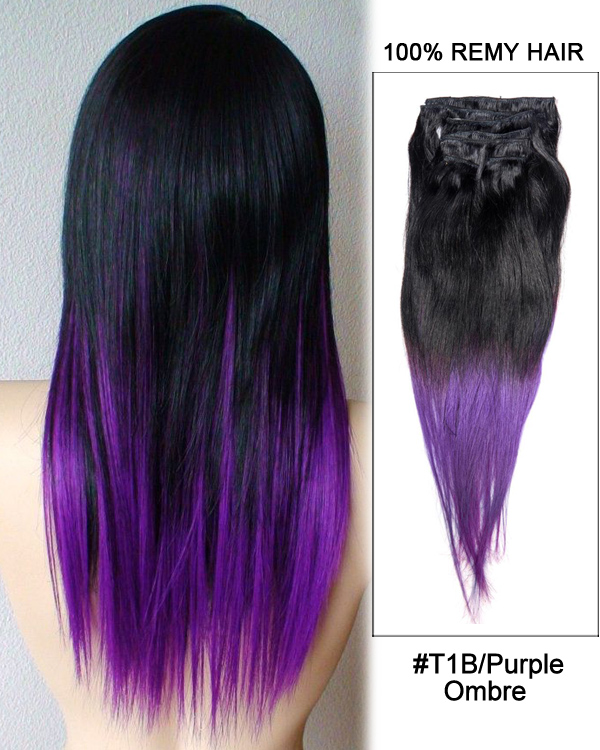 Ombre 18 7pcs clip in human hair extensions t1bpurple ombre straight hair 100 pmusecretfo Images