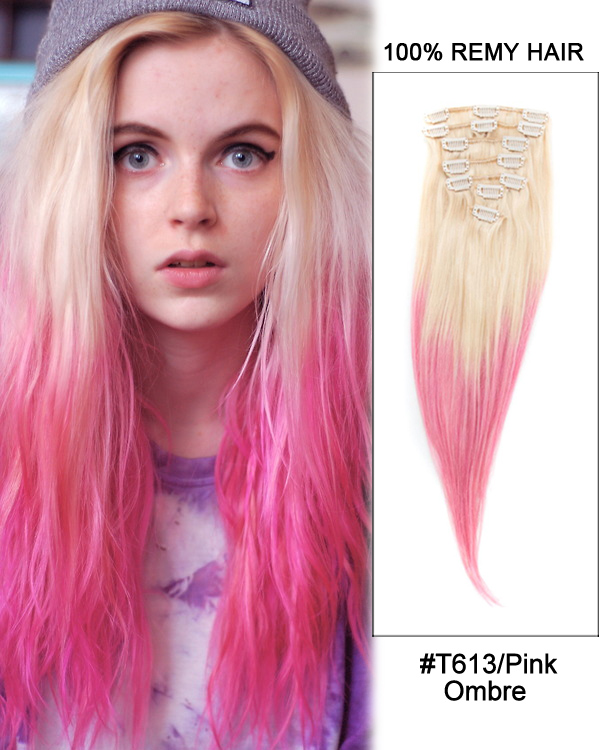 "18"" 7pcs Clip In Human Hair Extensions #T613/Pink Blonde Pink Ombre Straight Hair 100% Remy Hair"