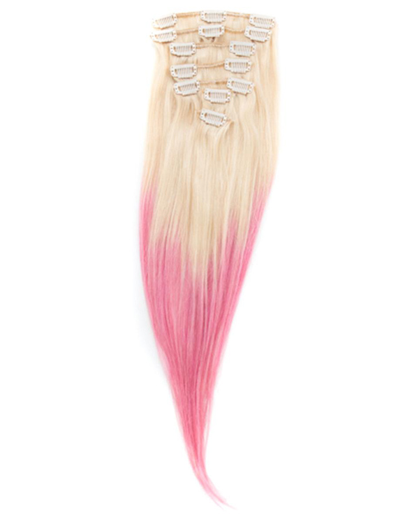 18 7pcs Clip In Human Hair Extensions T613pink Blonde Pink Ombre