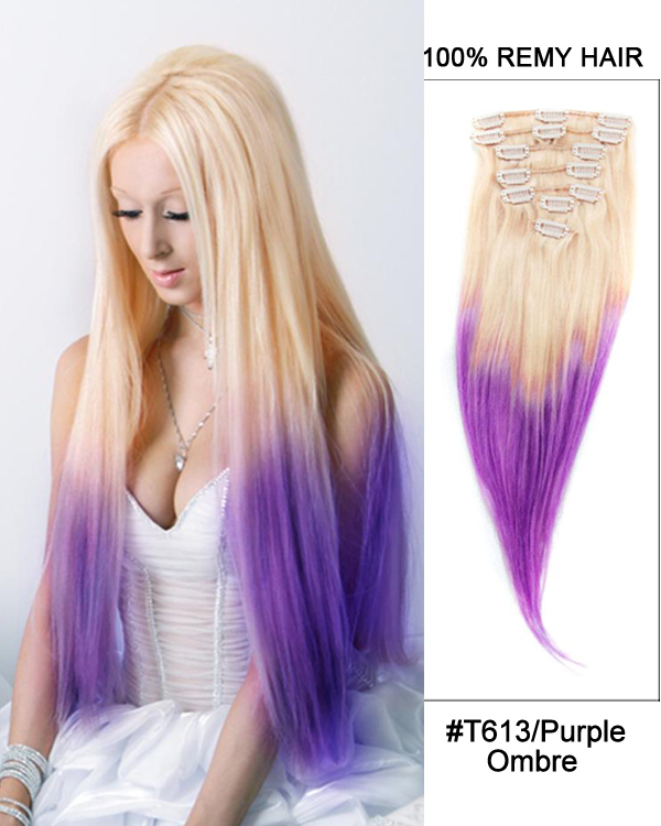 18 7pcs Clip In Human Hair Extensions T613purple Ombre Straight