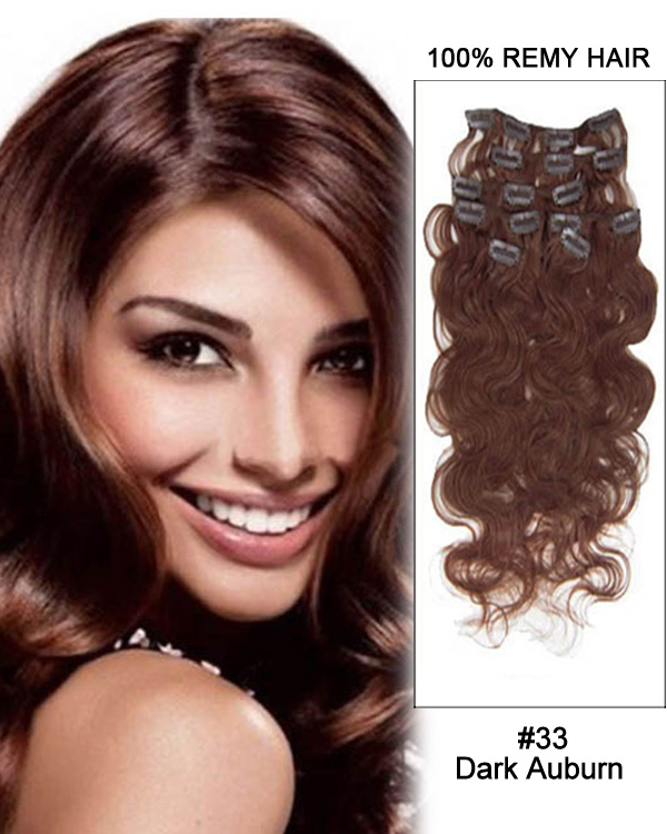"22"" #33 Dark Auburn Body Wave Remy Hair Clip In Hair Extension"
