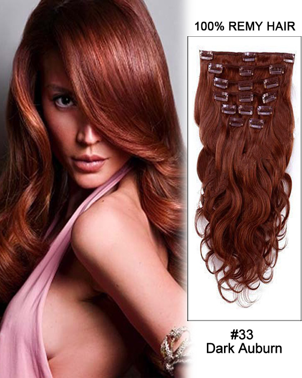 "26"" 11pcs Body Wave Clip in Remy Human Hair Extensions #33 Dark Auburn"