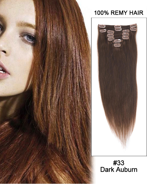 "22"" 7pcs Straight 100% Remy Hair Clip In Hair Extensions #33 Dark Auburn"