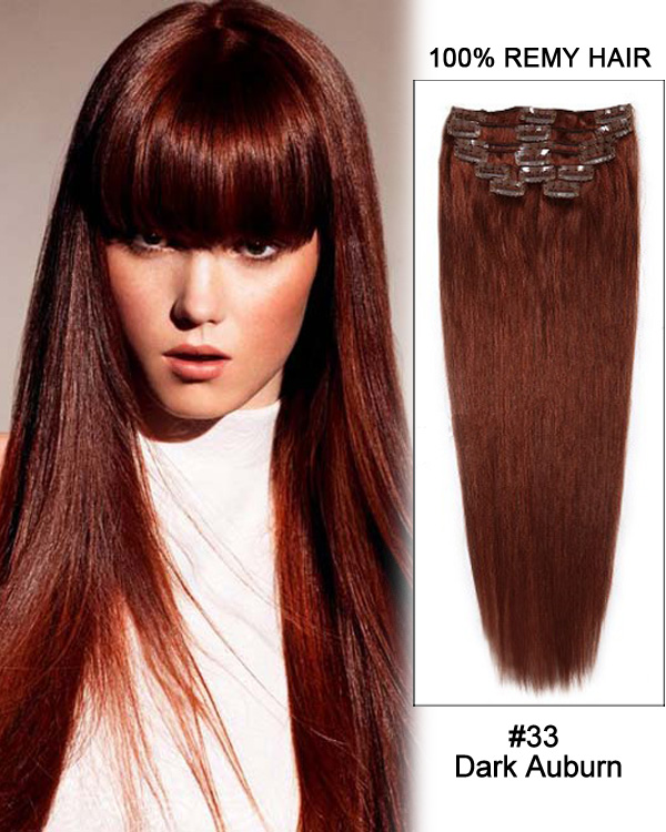 "28"" 11pcs Straight Clip in Remy Human Hair Extensions #33 Dark Auburn"