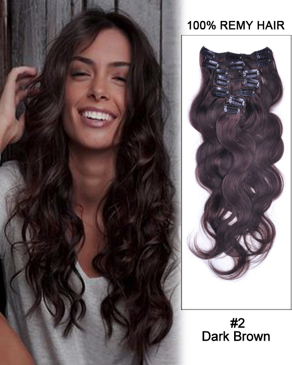 "20"" 7pcs Body wave 100% Remy Hair Clip In Hair Extensions #2-Dark Brown"
