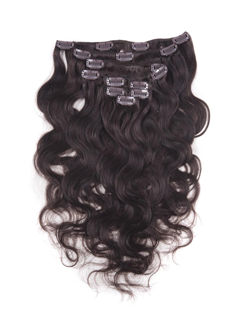 "18"" 9pcs #2 Dark Brown Body Wave Clip in Remy Human Hair Extension"