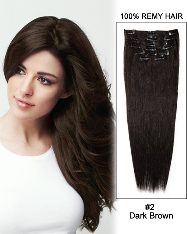 "28"" #2 Dark Brown Straight Clip in Remy Human Hair Extensions"