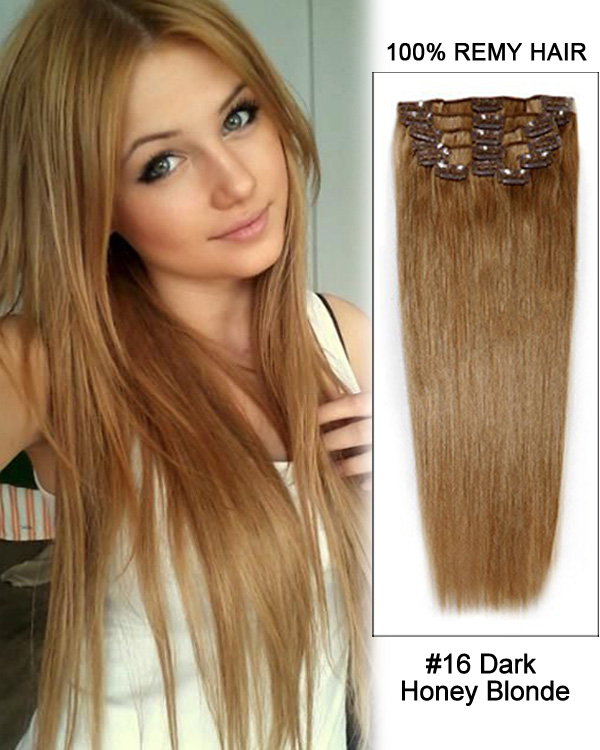 20 11pcs 16 Dark Honey Blonde Straight Clip In Remy Human Hair