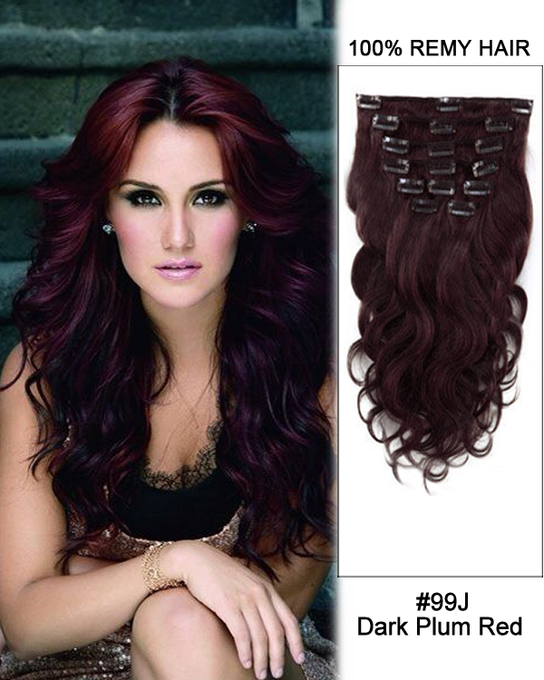 "16"" 7pcs #99J Dark Plum Red Body Wave 100% Remy Hair Clip In Human Hair Extensions"