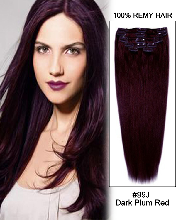 20 11pcs Straight Clip In Remy Human Hair Extensions 99j Dark Plum