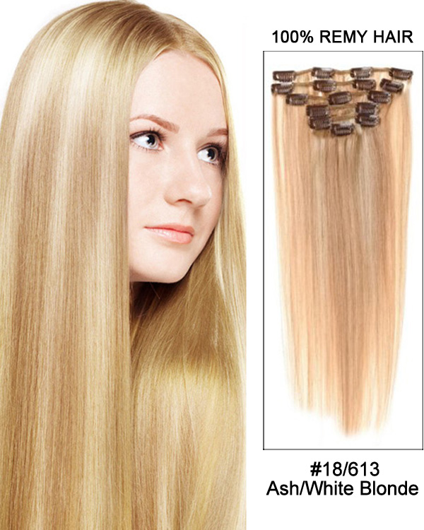 "18"" 7pcs Straight Remy Hair Clip In Hair Extensions #18/613-Ash/Blonde"
