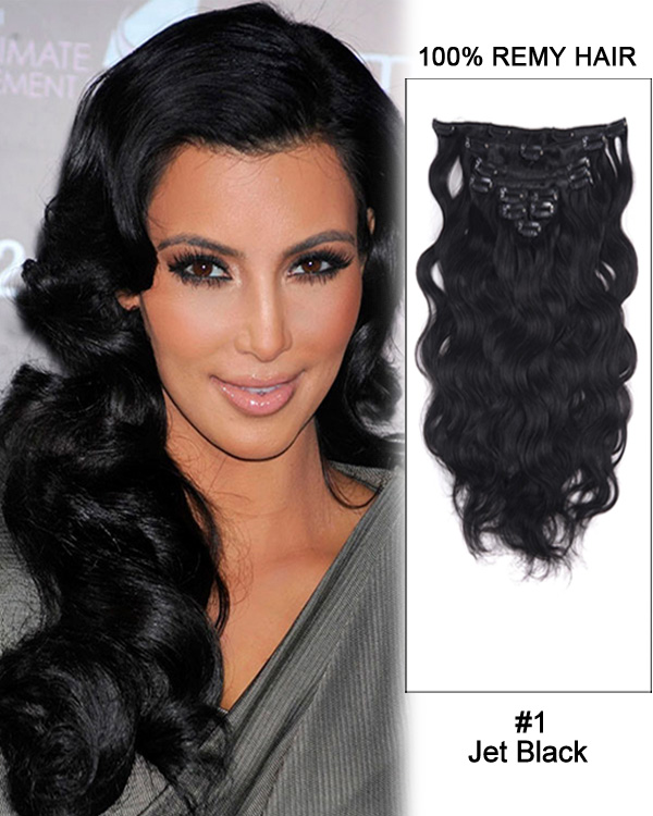 "20"" 9pcs #1 Jet Black Body Wave Remy Hair Clip in Hair Extensions"