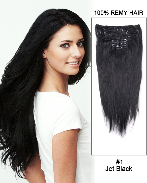 "20"" 9pcs #1 Jet Black Straight Remy Hair Clip in Hair Extensions"
