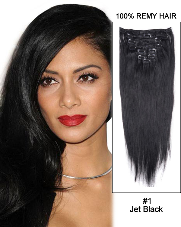 "18"" 9pcs #1 Jet Black Straight Clip in Remy Human Hair Extensions"