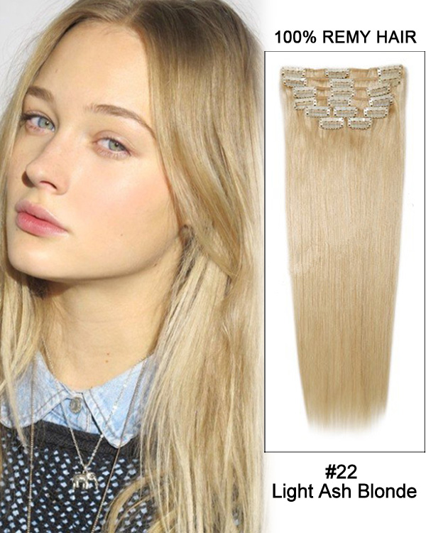 "22"" 11pcs #22 Light Ash Blonde Straight Clip in Remy Human ..."