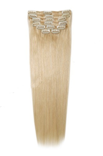 "22"" 11pcs #22 Light Ash Blonde Straight Clip in Remy Human Hair Extensions"