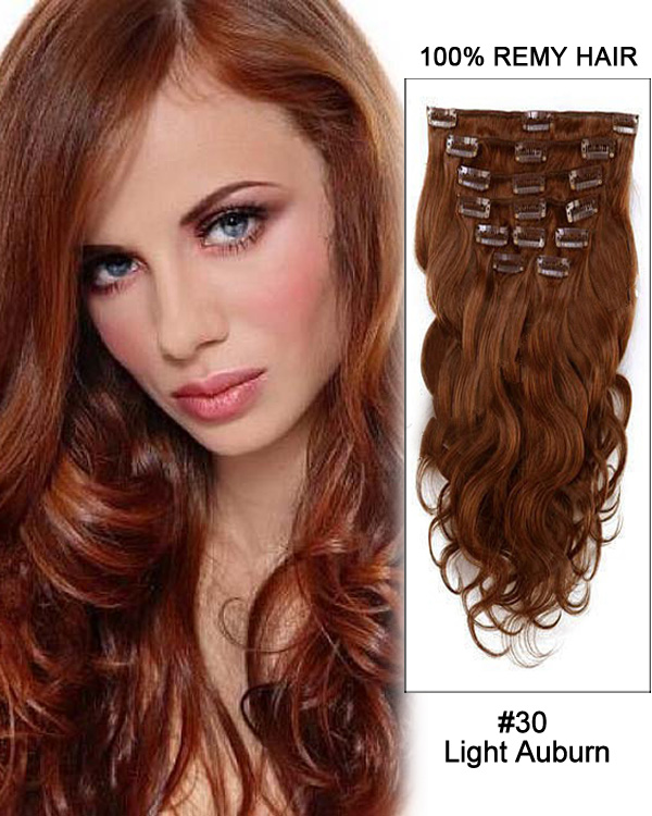 "20"" 11pcs Body Wave Clip in Remy Human Hair Extensions #30 Light Auburn"