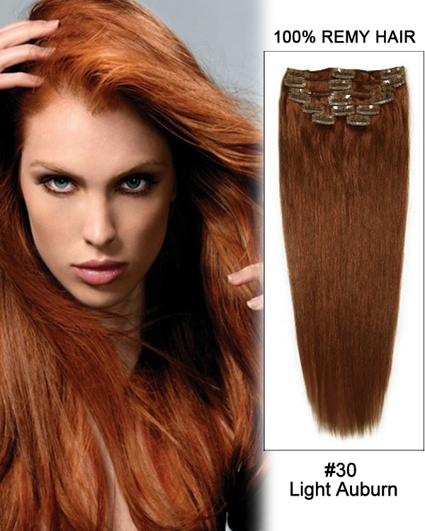 "18"" 11pcs Straight Clip in Remy Human Hair Extensions #30 Light Auburn"