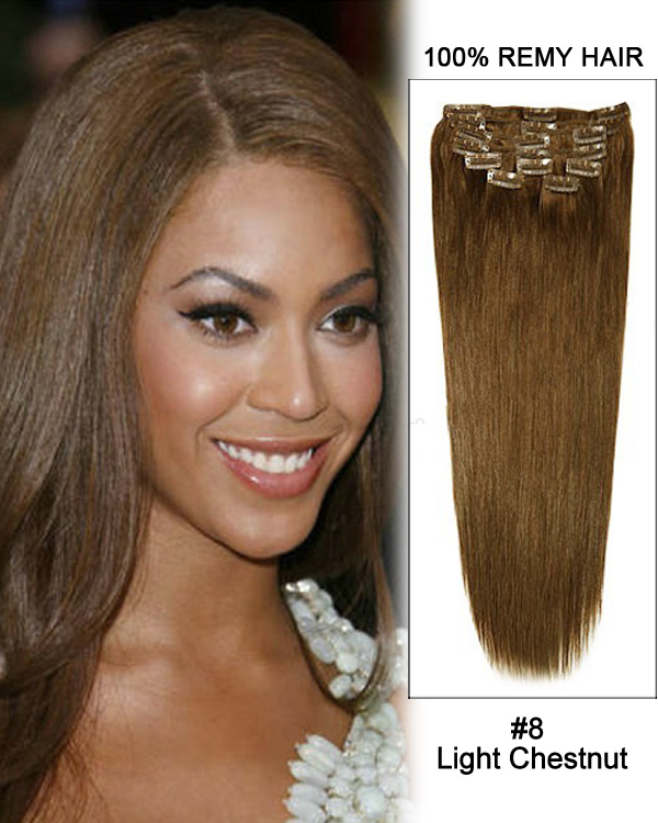 "18"" 11pcs #8 Light Chestnut Straight Clip in Remy Human Hair Extensions"