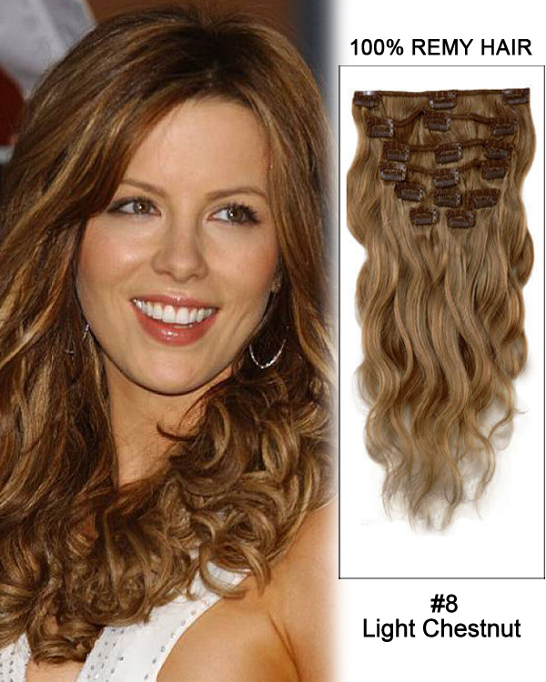 "28"" #8 Light Chestnut Body Wave Remy Human Hair Clip in Hair Extension"
