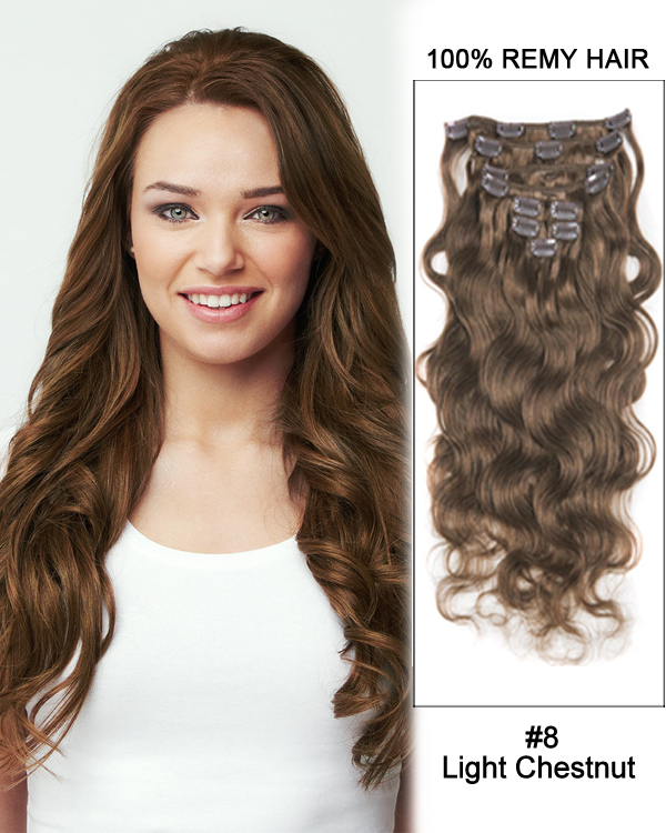 "18"" 9pcs #8 Light Chestnut Body Wave 100% Remy Human Hair Clip in Hair Extension"