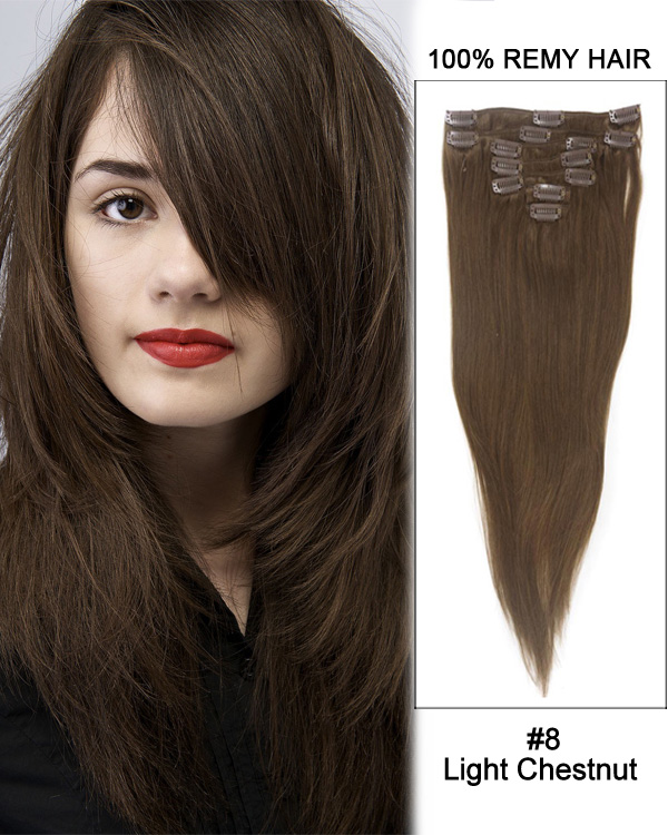 "18"" 7pcs #8 Light Chestnut Straight 100% Remy Hair Clip In Hair Extensions"
