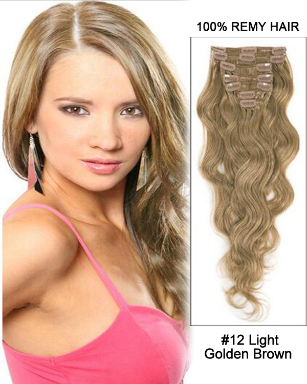 30 12 Golden Brown Body Wave Remy Human Hair Clip In Hair