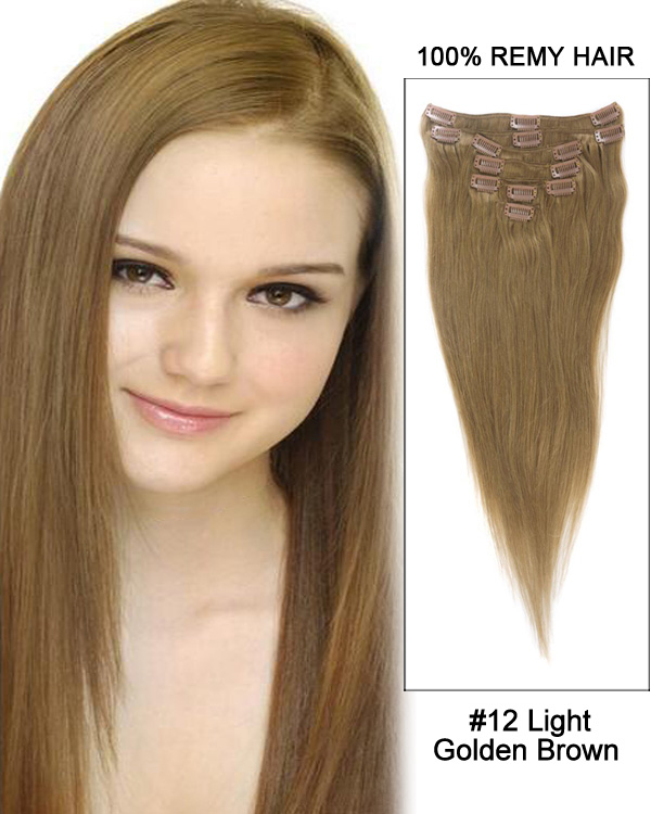 Superb 30u201d 7pcs Straight 100% Remy Hair Clip In Hair Extensions #12 Light Awesome Ideas