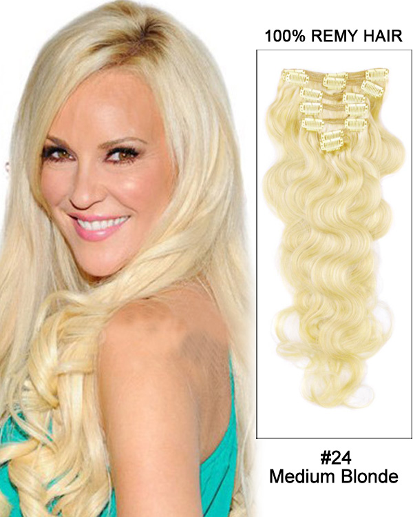 "18"" 7pcs #24 Medium Blonde Body Wave 100% Remy Hair Clip in Hair Extensions"