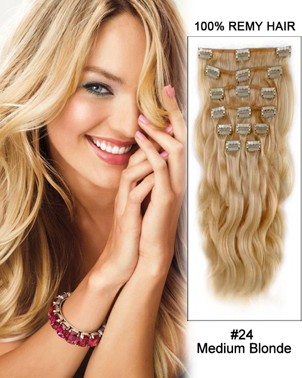 "22"" 11pcs #24 Medium Blonde Body Wave Clip in Remy Human Hair Extensions"