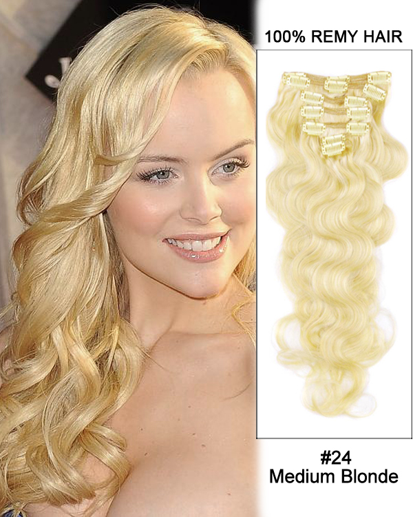"18"" 7pcs #24 Medium Blonde Body Wave 100% Human Hair Clip In Hair Extensions"