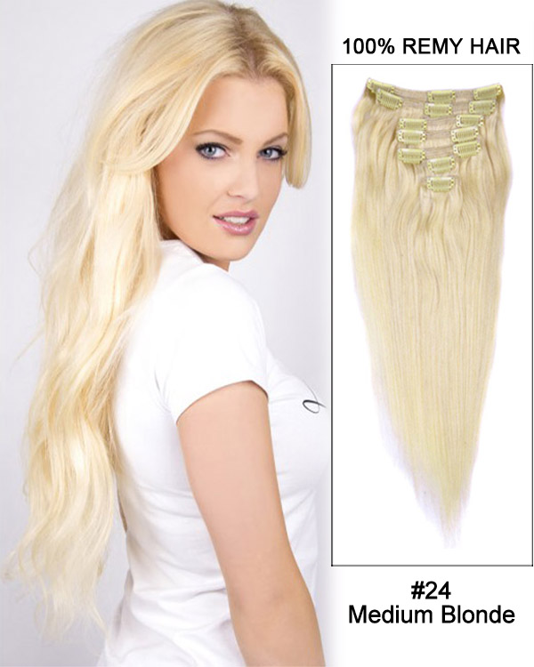 "20"" 7pcs Straight Human Hair Clip In Hair Extensions#24-Medium Blonde"