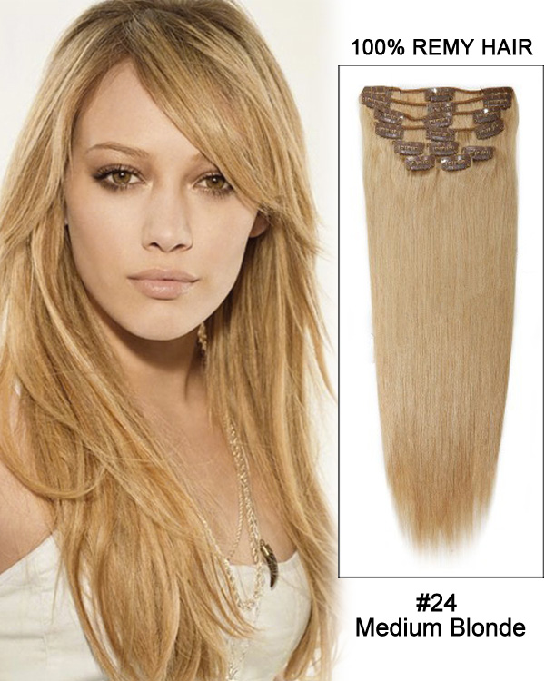 "16"" 11pcs #27 Strawberry Blonde Straight Clip in Remy Human Hair Extensions"